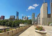 Millennium Park y un horizonte parcial de Chicago
