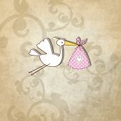 Baby shower card - Simple unique design with vintage background and hand drawn illustration stork in