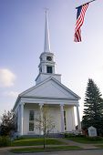 Stowe Community Church And The American Flag, Vermont.