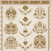 image of brocade  - Set of vector damask ornaments - JPG