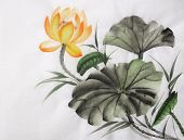 Watercolor Painting Of Yellow Lotus Flower