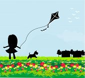 Girl With Flying Kite