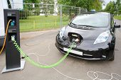 MOSCOW - AUGUST 18: Modern electric car recharged at electrical charging at festival Ekofest 2012 on