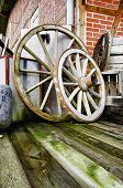 Two wagon wheels - HDR