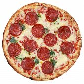 pic of salami  - Salami Pizza isolated on a white background - JPG