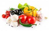 fresh vegetable with italian cheese mozzarella isolated on white background