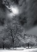 foto of moonlit  - moonlit night and clouds on night sky - JPG