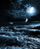 night sea in the moonlight