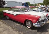 1956 White And Red Ford Victoria Fairlane Side View