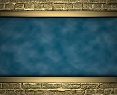 picture of jade blue  - Blue texture with gold bricks at the edges - JPG