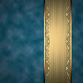 picture of jade blue  - Beautiful pattern on a gold plate on a blue background - JPG