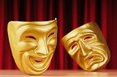 foto of comedy  - Masks with the theatre concept - JPG