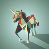 foto of unicorn  - Illustration of a three dimensional origami magic unicorn with horn made from folded paper in the Japanese tradition - JPG