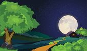 picture of moonlit  - Abstract and Vector Background of Starry Moonlit Night - JPG