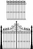 stock photo of wrought iron  - Black and white wrought iron gate and fence - JPG