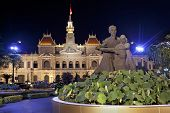 Night Scene Of The Ho Chi Minh City Hall.  Vietnam