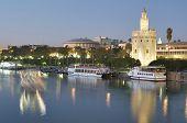 vista de la torre del oro a orillas del río Guadalquivir, Sevilla, Andalucía, España