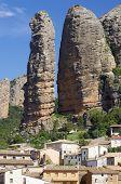 view of the mountains known as Mallos de Aguero, Huesca, Aragon, Spain