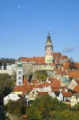 View of the town of Cesky Krumlov, stands the castle tower, South Bohemia, Czech Republic