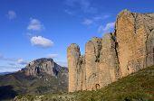 Vista de Riglos montañas, Huesca, Aragon, España