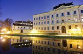View at dusk of a historic building in the old town of Ceske Budejovice, Czech Republic