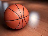 foto of basketball  - Illustration of a basketball on a basketball court indoor - JPG