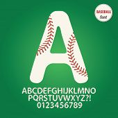 image of stitches  - Set of Baseball Ball Alphabet And Digit Vector - JPG