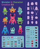 pic of halloween characters  - Hipster Freaky Monster and Character Creation Kit - JPG
