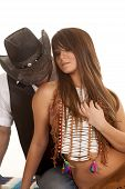 Cowboy And Indian Woman Sit Kiss Shoulder