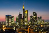 Cityscape Of Frankfurt At Twilight