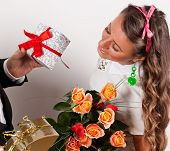 Holidays, Presents, Birthday Concept - Happy Woman With Flowers And Gift Box
