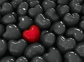 Lonely red heart among black hearts.