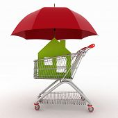Conception of defence of the real estate for sale. 3d illustration of light shopping cart, icon of house and umbrella