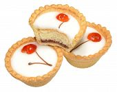 stock photo of tarts  - Individual cherry Bakewell tarts - JPG