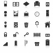 House Related Icons With Reflect On White Background