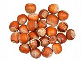 Постер, плакат: Handful Of Hazelnuts Isolated