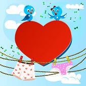card on valentine day with heart and women's and men's briefs