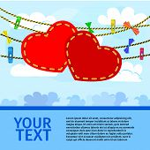 card on valentine day with a pair of decorative hearts on sky background