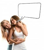 Gay couple, two women looking on camera with speech bubble