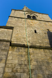 pic of lightning-rod  - A copper lightning rod affixed to the tower of St Wilfrid - JPG