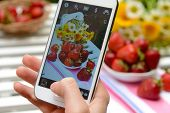 Hand making photo of strawberries on mobile phone for social network