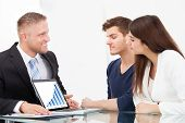 Advisor Showing Investment Plans To Couple On Laptop