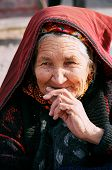 Ashgabat, Turkmenistan - July 29.  Portrait Of Old Unidentified  Asian Woman. Woman In Traditional N