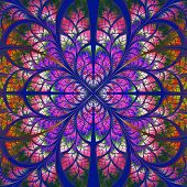 Symmetrical Fractal Pattern. Collection - Tree Foliage. Red, Purple And Blue Palette.