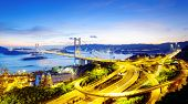 foto of tsing ma bridge  - Tsing Ma Bridge sunset  - JPG