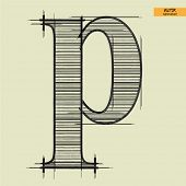 art simple alphabet in vector, classical black handmade font, lowercase letter p