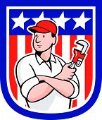 American Plumber Holding Monkey Wrench Cartoon