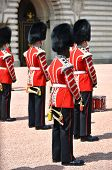 LONDON, UK a?? JUNE 12, 2014: British Royal guards perform the Changing of the Guard in Buckingham P