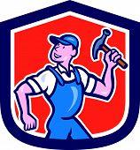 Builder Carpenter Holding Hammer Cartoon