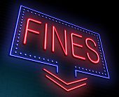 stock photo of disadvantage  - Illustration depicting an illuminated neon sign with a fines concept - JPG